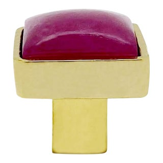 Addison Weeks Horne Small, Brass & Pink Jade For Sale