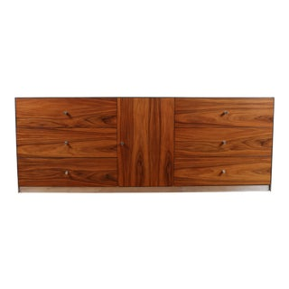 Milo Baughman Style Rosewood & Steel Chrome Platform Credenza For Sale