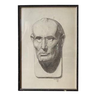 Portrait of a Bust Graphite Drawing on Paper Signed Helen Beling, Nov 1930 For Sale