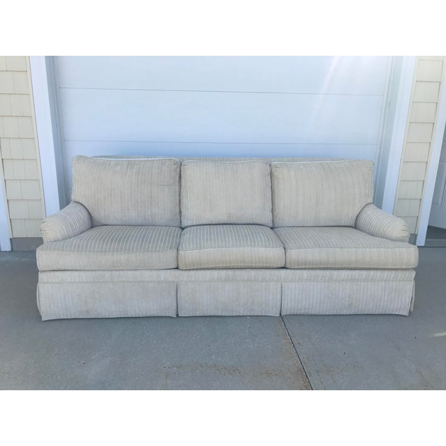 French Country Ethan Allen Cream Sofa For Sale - Image 3 of 3