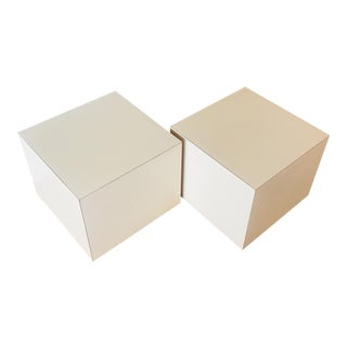 Formica 1980's Cube End Tables - A Pair