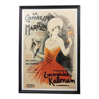 1930s La Comtesse Maritza Original Framed Poster
