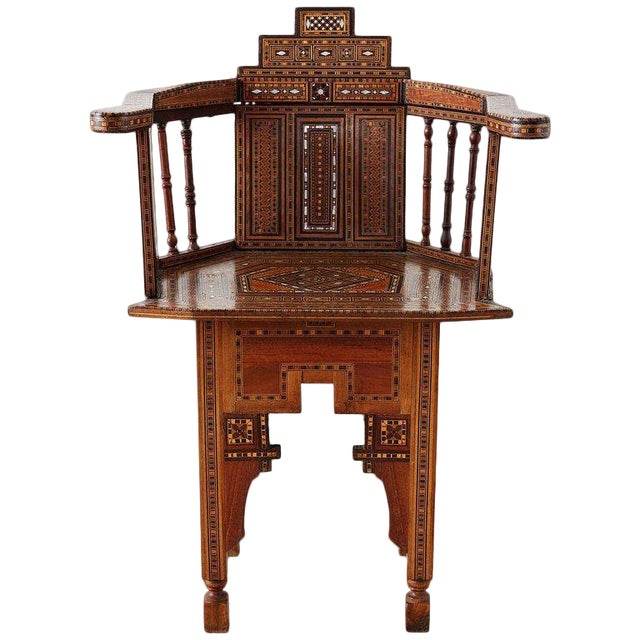 Syrian Armchair With Inlay Moorish Designs For Sale