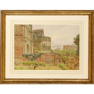Victorian Watercolor, Geo. M. Henton, Ragdale Old Hall, Leicestershire For Sale