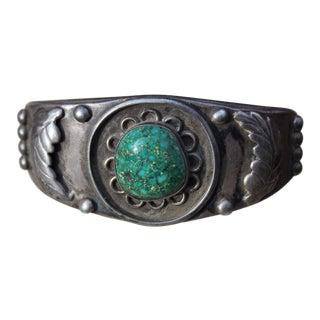 Turquoise Leaf Cuff Bracelet For Sale
