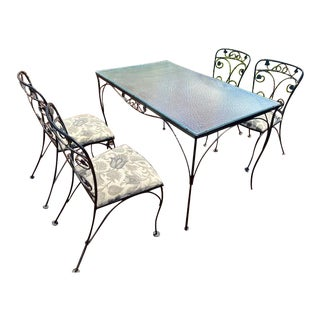 Vintage Mid Century Wrought Iron Patio Dining Set For Sale
