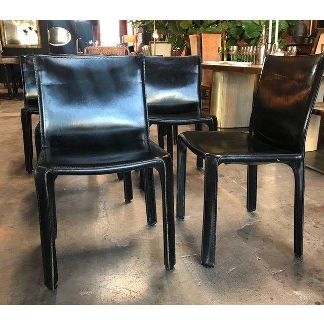 Mario Bellini Cassina Chairs, Model Cab Nr. 412, Mario Bellini in Black Leather, Set of Eight For Sale - Image 4 of 9