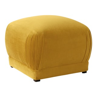 Square Ottoman in Monaco Citronella For Sale