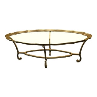 1980s Hollywood Regency LaBarge Scalloped Brass Coffee Table For Sale