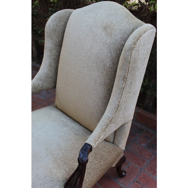 Late 20th Century Antique Italian Wingback With Ornate Floral Carving For Sale - Image 5 of 6