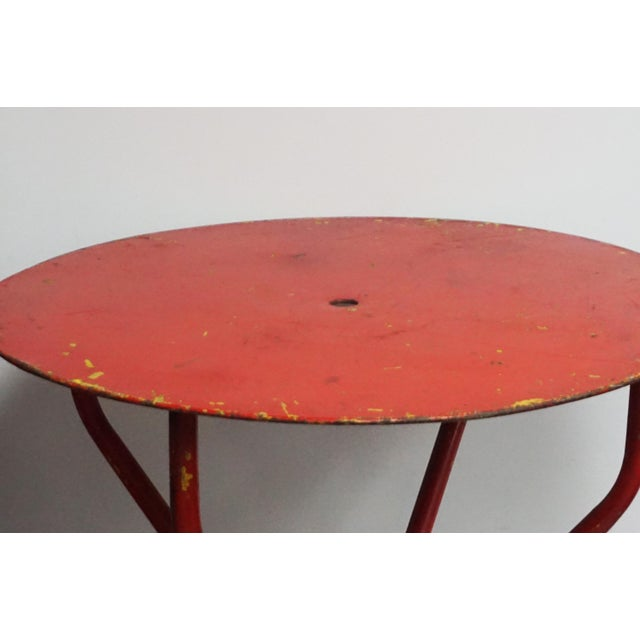 Vintage Red French Bistro Table For Sale - Image 4 of 7