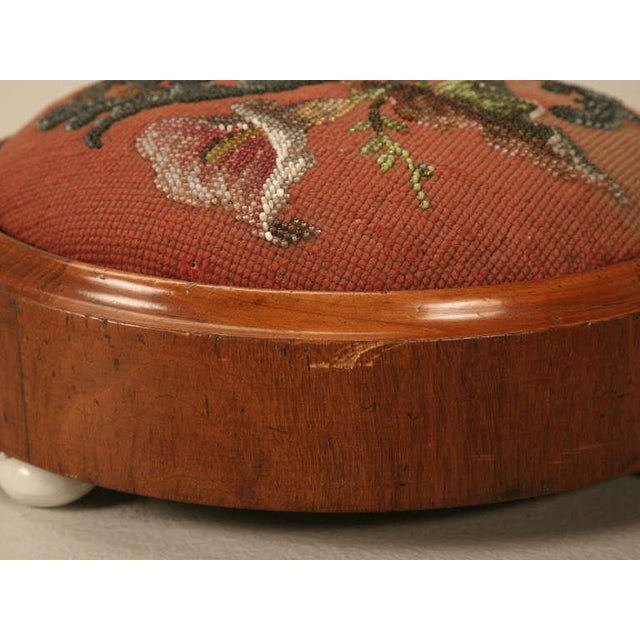 Antique English Folk Art Beaded Ladies' Footstool For Sale - Image 10 of 10