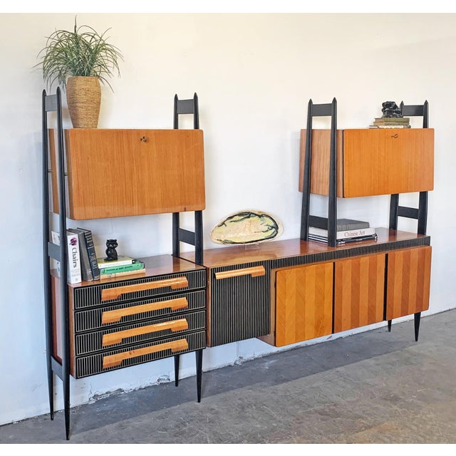 Large Italian Modern Wall Unit, Italy, 1950's For Sale - Image 10 of 11