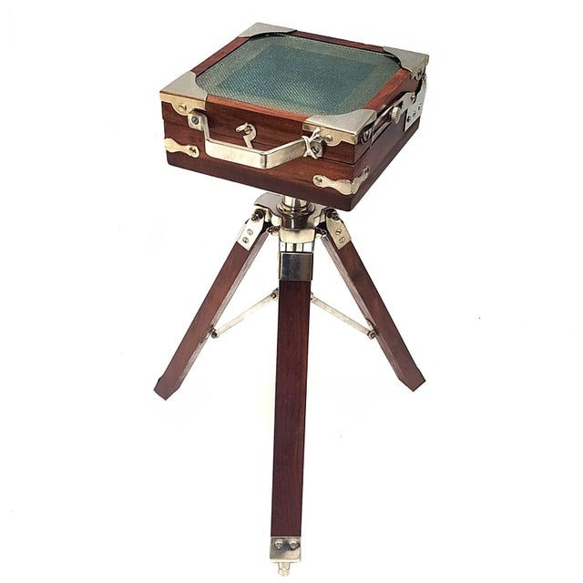 Early 20th Century Vintage Nickel Plated Brass Camera with Tripod Stand Replica For Sale - Image 5 of 7