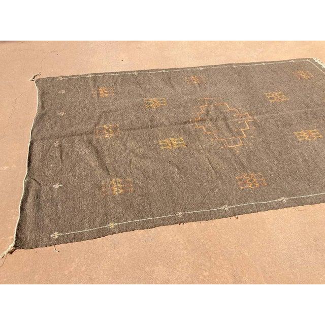 Moroccan Vintage Flat-Weave Brown Rug For Sale - Image 9 of 13