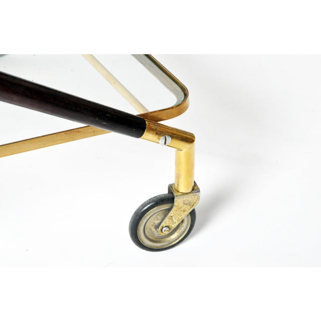 Vintage Glass and Brass Bar Cart For Sale - Image 10 of 11