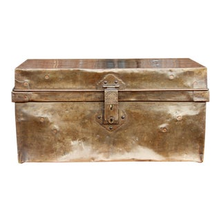 Vintage 20th Century Brass Traveling Trunk For Sale
