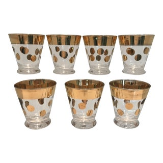 1970s Mid-Century Modern Gold Polka Dot Double Shot Low Ball Cocktail Glasses - Set of 7