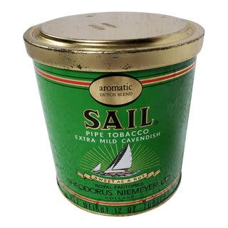 Nautical Sailboat Tobacco Tin, Sail Pipe Tobacco, Office/Den Storage Container For Sale