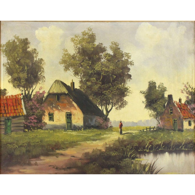 Oil on canvas framed in original gilded wood frame. Scene is of a barn in the countryside with a woman walking down the...