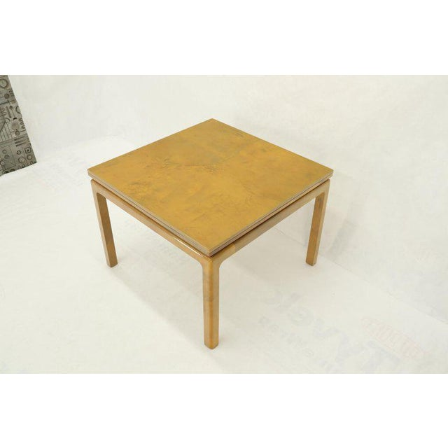 Lacqured Goat Skin Parchment Square Flip Top Dining Table For Sale - Image 12 of 13