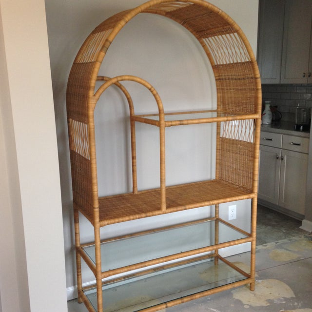 Mid-Century Rattan & Glass Etagere / Bookcase - Image 4 of 8
