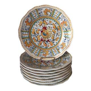"""8 Le Cadeaux 9""""Rooster Melamine Salad Plates For Sale"""