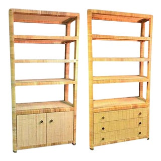 Pair of Rattan & Wicker Brass Accented Etageres For Sale