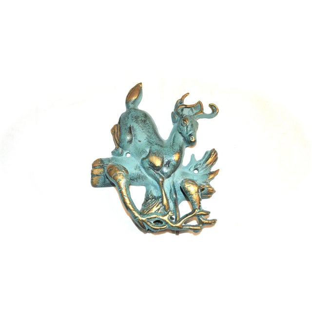 Verdigris and Gold Stag Door Knocker For Sale - Image 9 of 9