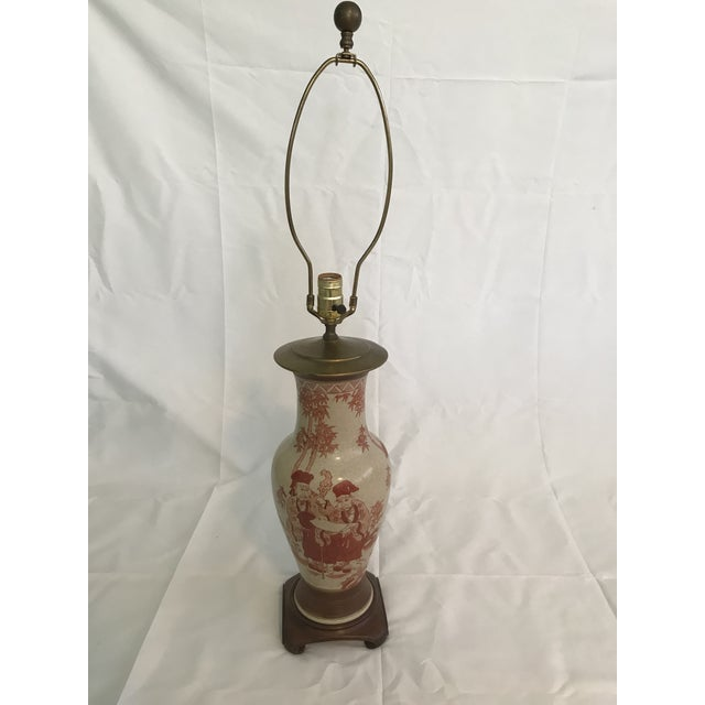 Metal Asian Chinoiserie Hand Painted Ginger Jar Lamp For Sale - Image 7 of 7