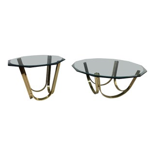 Mid Century Modern Brass & Glass Table Set - in the Style of Roger Sprunger for Dunbar For Sale