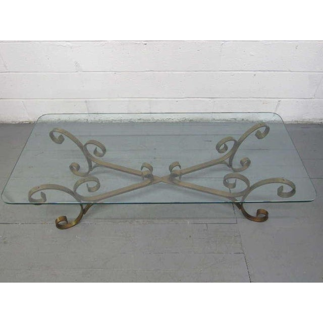 French French Gilded Wrought Iron Coffee Table For Sale - Image 3 of 5