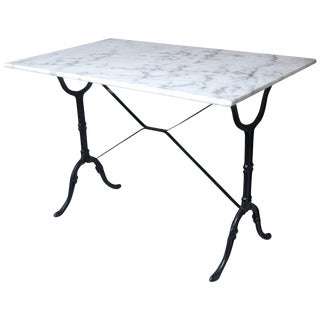 Marble Top Cast Iron Bistro Table, France, Early 20th Century For Sale