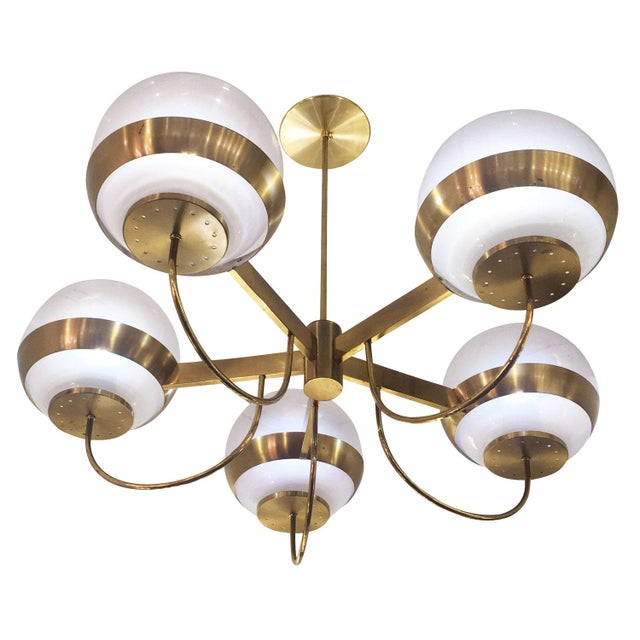 Brass Brass Chandelier by Lamperti, Italy, 1960s For Sale - Image 7 of 7