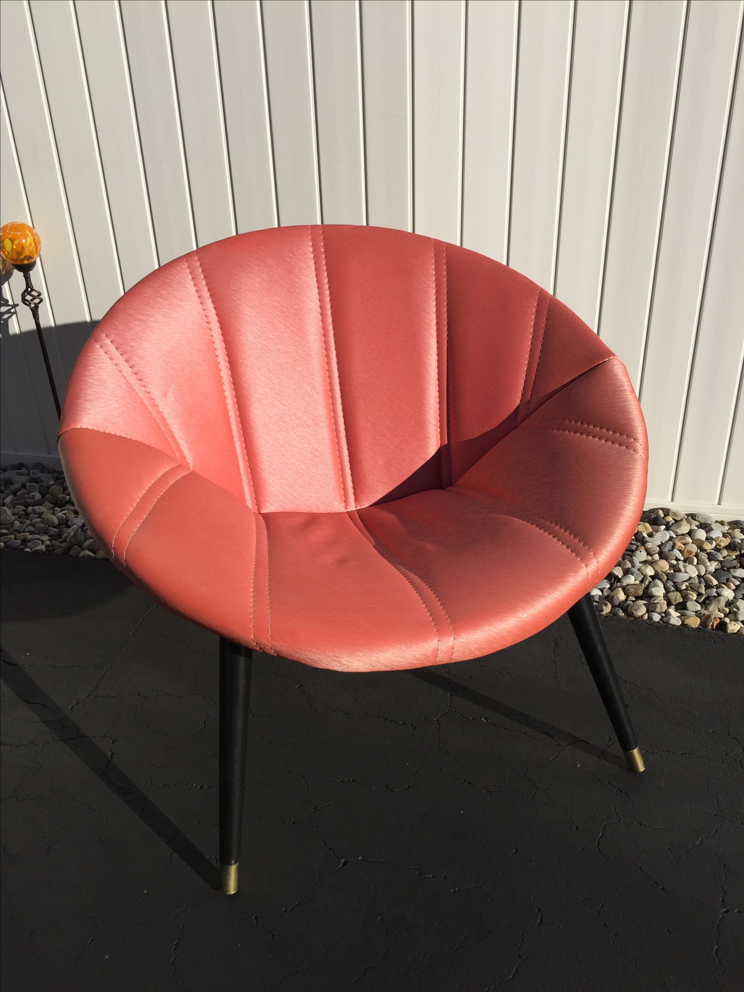 Melbourne Mid Century Saucer Chair In Salmon   Image 2 Of 8