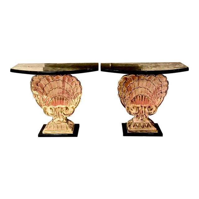 Hollywood Regency Shell Consoles - a Pair For Sale