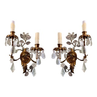Bague Engraved Mirror-Backed Leaves and Crystals Sconces - a Pair For Sale