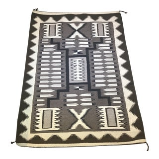 Mid-Century Navajo Two Grey Hills Storm Pattern Rug - 2′8″ × 3′10″ For Sale