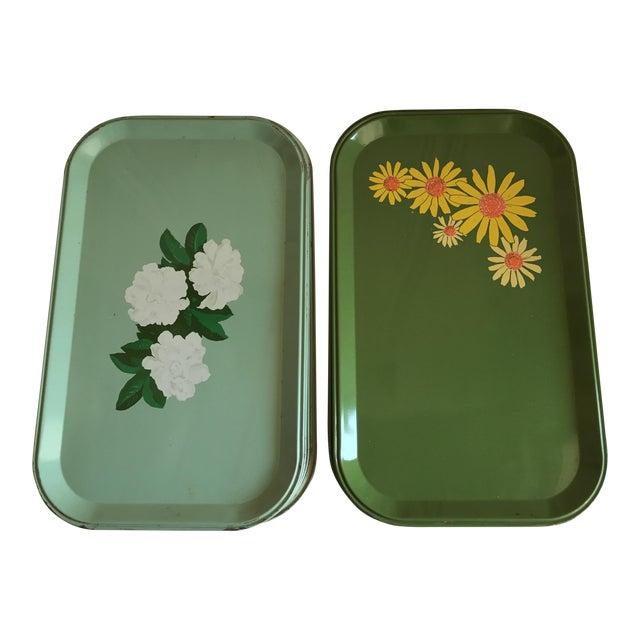 Mid-Century Enamel Floral Trays - Set of 10 - Image 1 of 8