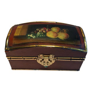 Vintage Hand Painted Fruit Motif Wooden Box For Sale