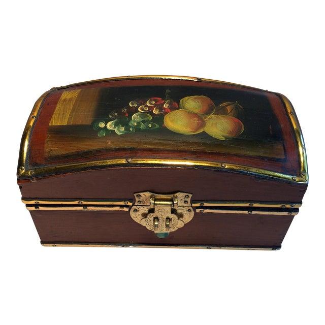 Vintage Hand Painted Fruit Motif Wooden Box For Sale