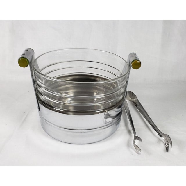 Art Deco Chrome Ice Bucket With Ribbed Glass Insert and Tongs For Sale - Image 9 of 9
