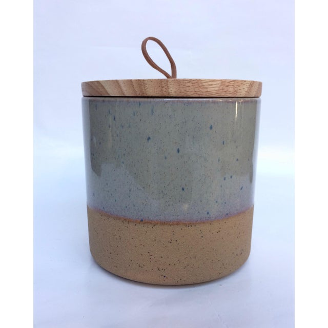 Medium Speckled Ojai Stoneware Canister For Sale In Palm Springs - Image 6 of 6