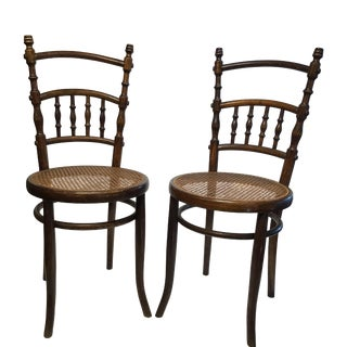 Early 20th Century French Cane Bottom Chairs- a Pair For Sale