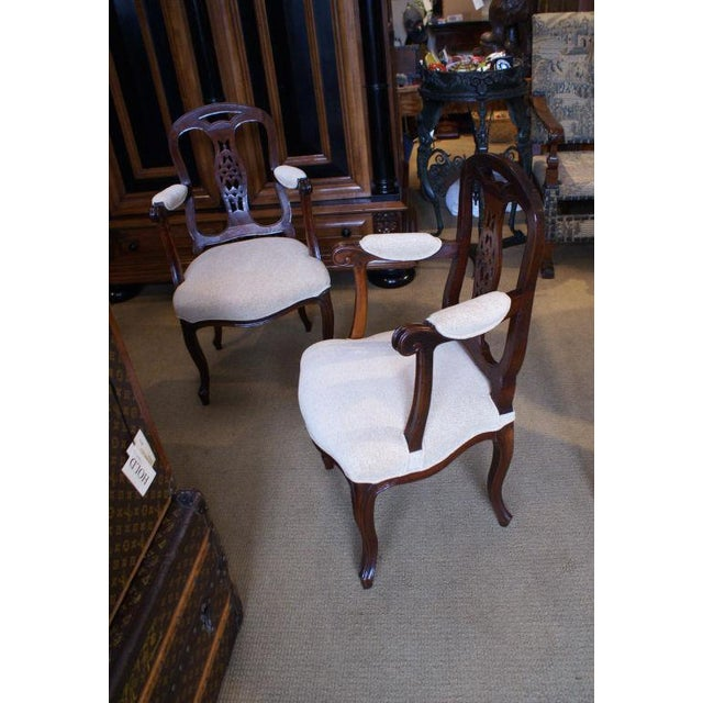 19th Century Italian Fruitwood Armchairs - a Pair For Sale - Image 4 of 4