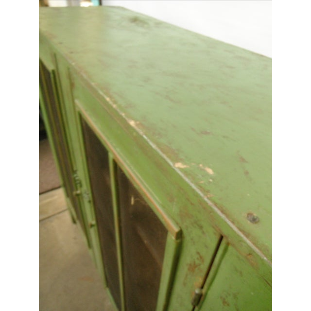 Antique Primitive Rustic Green Pie Safe Chest For Sale - Image 9 of 9