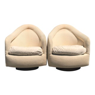 1970s Milo Baughman for Thayer Coggin Swivel Rocking Lounge Chairs - a Pair For Sale