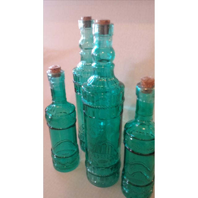 Rustic Decorative Turquoise Glass Bottles - Set of 4 For Sale - Image 3 of 3