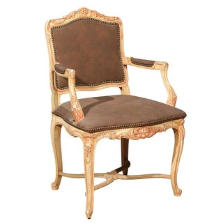 Louis XV Style Painted Bergere Chair For Sale