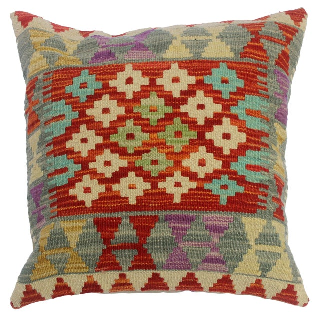 """Cheri Red/Gray Hand-Woven Kilim Throw Pillow(18""""x18"""") For Sale"""